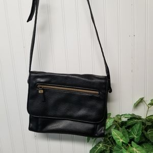 Black Pebbled Leather Relic Crossbody Purse